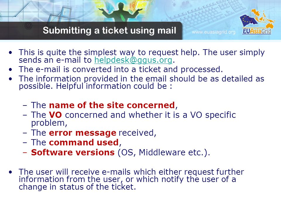 Submitting a ticket using mail This is quite the simplest way to request help.