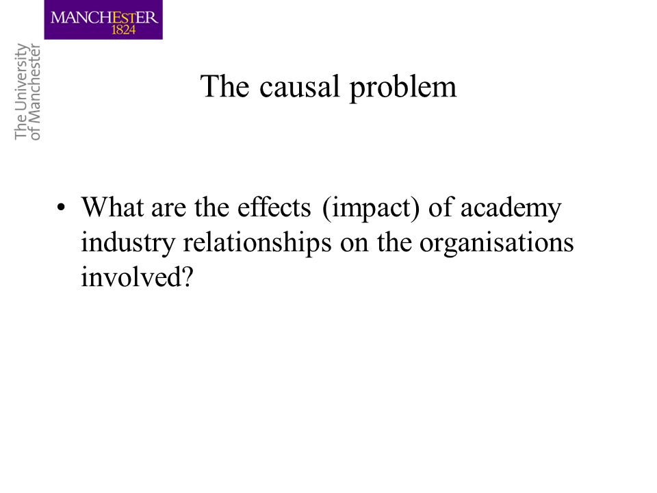 The causal problem What are the effects (impact) of academy industry relationships on the organisations involved