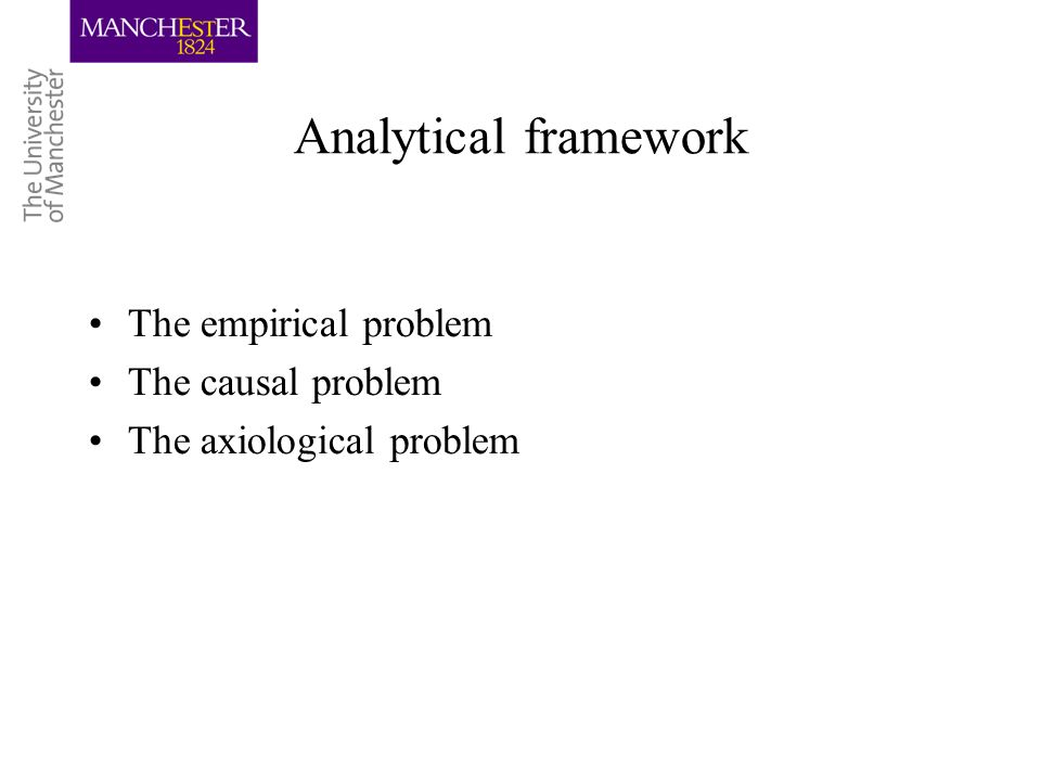 Analytical framework The empirical problem The causal problem The axiological problem