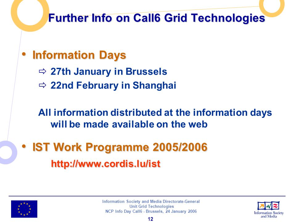 Information Society and Media Directorate-General Unit Grid Technologies NCP Info Day Call6 - Brussels, 24 January Further Info on Call6 Grid Technologies Information Days Information Days 27th January in Brussels 22nd February in Shanghai All information distributed at the information days will be made available on the web IST Work Programme 2005/ IST Work Programme 2005/2006