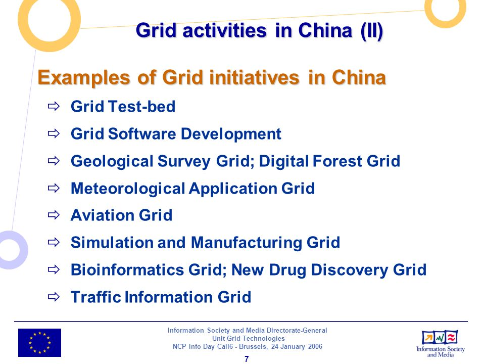 Information Society and Media Directorate-General Unit Grid Technologies NCP Info Day Call6 - Brussels, 24 January Examples of Grid initiatives in China Grid Test-bed Grid Software Development Geological Survey Grid; Digital Forest Grid Meteorological Application Grid Aviation Grid Simulation and Manufacturing Grid Bioinformatics Grid; New Drug Discovery Grid Traffic Information Grid Grid activities in China (II)