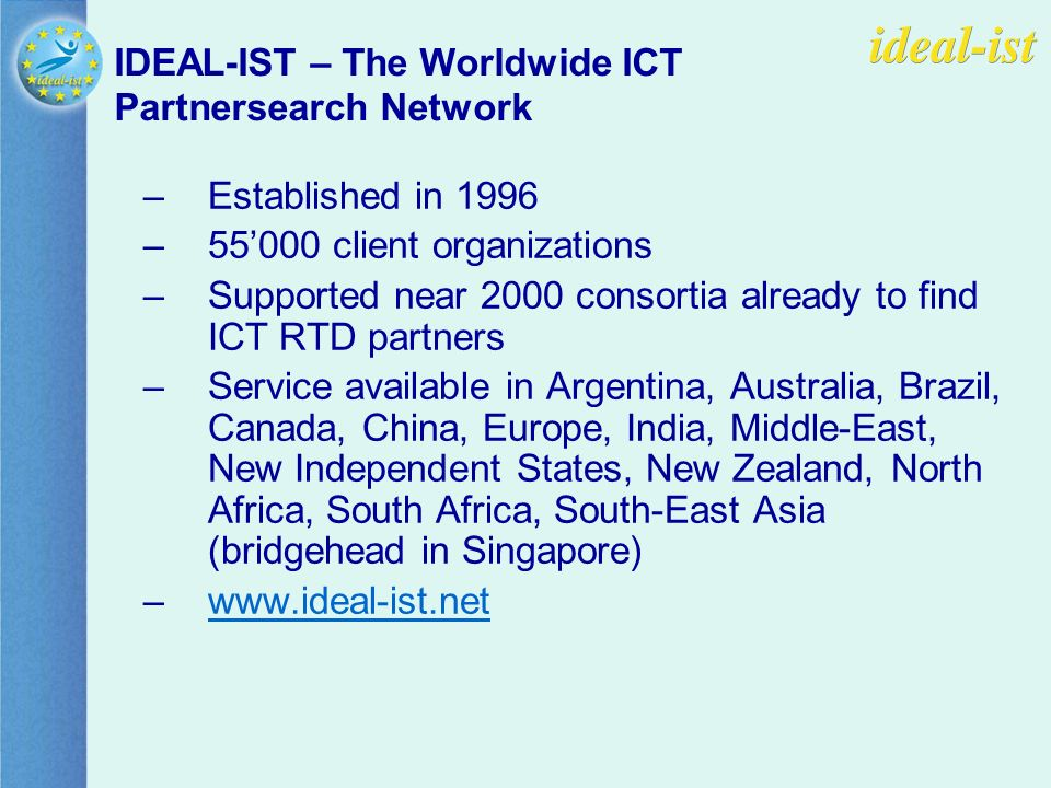 –Established in 1996 –55000 client organizations –Supported near 2000 consortia already to find ICT RTD partners –Service available in Argentina, Australia, Brazil, Canada, China, Europe, India, Middle-East, New Independent States, New Zealand, North Africa, South Africa, South-East Asia (bridgehead in Singapore) –www.ideal-ist.netwww.ideal-ist.net IDEAL-IST – The Worldwide ICT Partnersearch Network