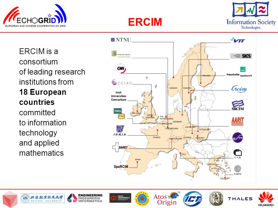 ERCIM is a consortium of leading research institutions from 18 European countries committed to information technology and applied mathematics ERCIM
