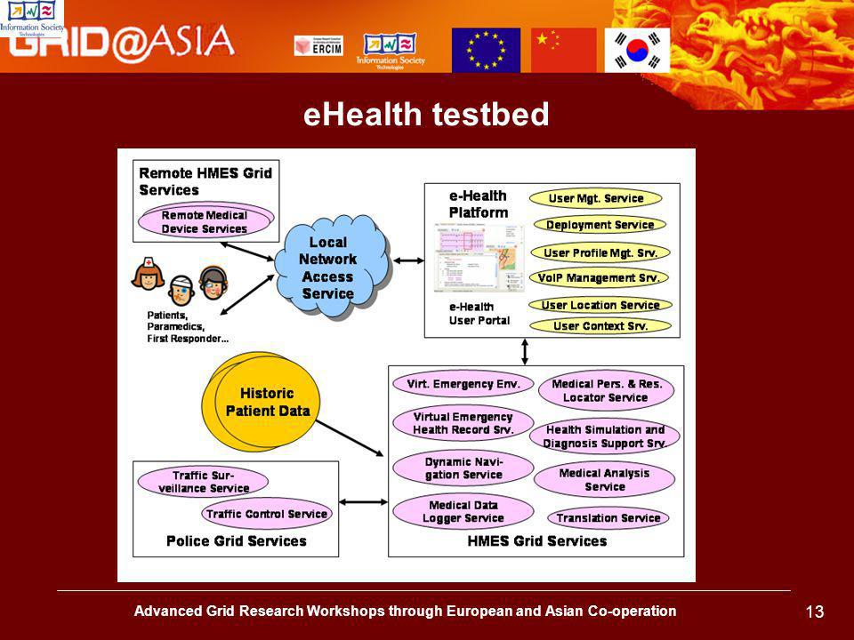 Advanced Grid Research Workshops through European and Asian Co-operation 13 eHealth testbed