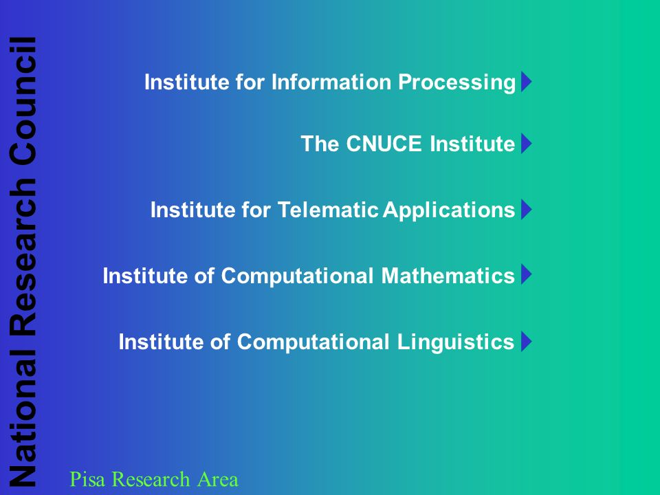 Pisa Research Area National Research Council Institute of Computational Mathematics Institute for Information Processing The CNUCE Institute Institute for Telematic Applications Institute of Computational Linguistics