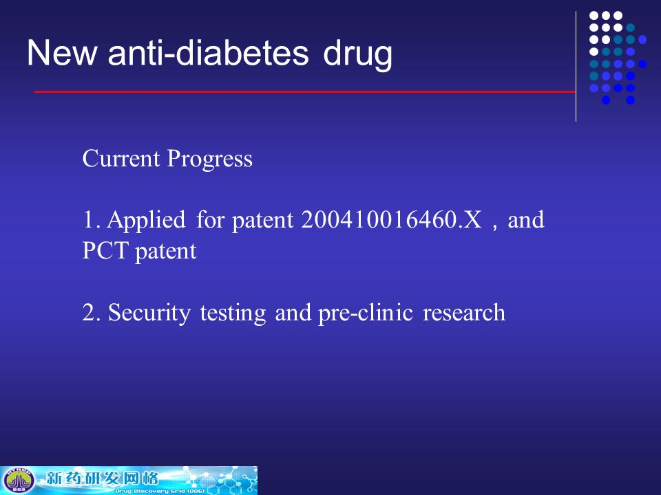 New anti-diabetes drug Current Progress 1. Applied for patent 200410016460.X and PCT patent 2.