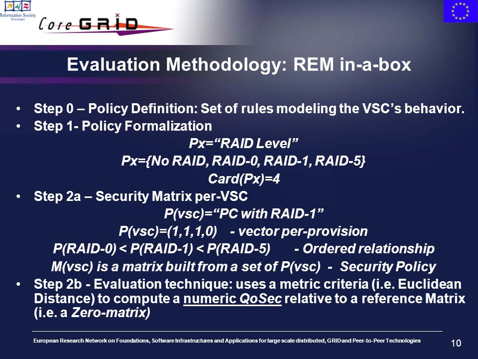 European Research Network on Foundations, Software Infrastructures and Applications for large scale distributed, GRID and Peer-to-Peer Technologies 10 Evaluation Methodology: REM in-a-box Step 0 – Policy Definition: Set of rules modeling the VSCs behavior.