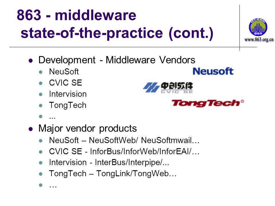 863 - middleware state-of-the-practice (cont.) Development - Middleware Vendors NeuSoft CVIC SE Intervision TongTech...