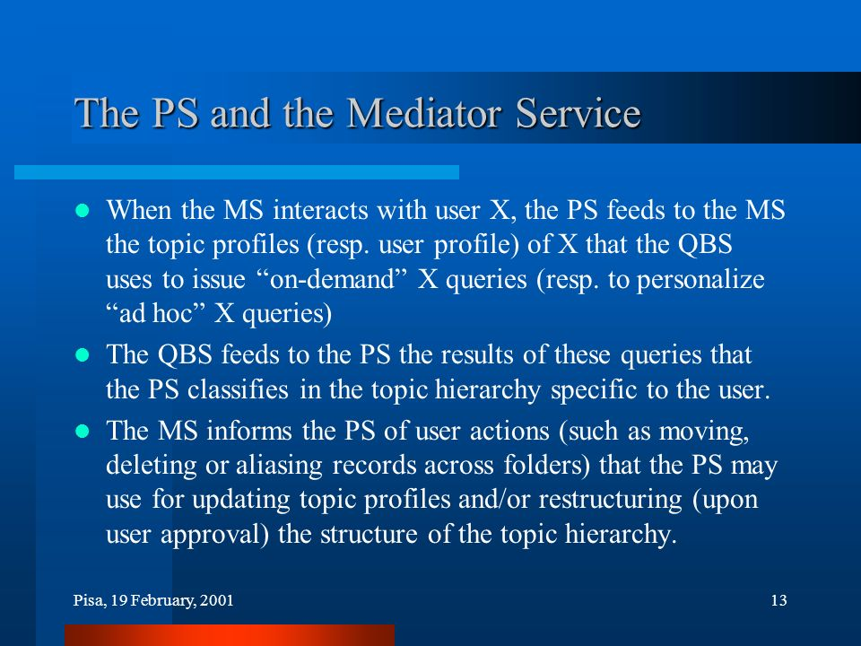 Pisa, 19 February, 200113 The PS and the Mediator Service When the MS interacts with user X, the PS feeds to the MS the topic profiles (resp.