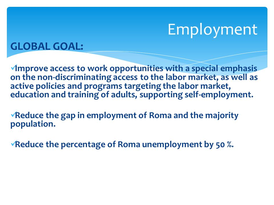 GLOBAL GOAL: Improve access to work opportunities with a special emphasis on the non-discriminating access to the labor market, as well as active policies and programs targeting the labor market, education and training of adults, supporting self-employment.