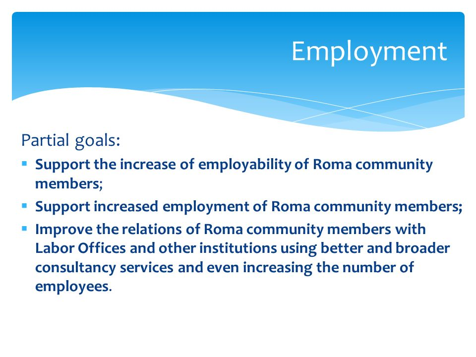 Partial goals: Support the increase of employability of Roma community members; Support increased employment of Roma community members; Improve the relations of Roma community members with Labor Offices and other institutions using better and broader consultancy services and even increasing the number of employees.