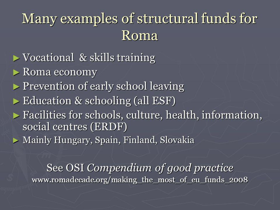 Many examples of structural funds for Roma Vocational & skills training Vocational & skills training Roma economy Roma economy Prevention of early school leaving Prevention of early school leaving Education & schooling (all ESF) Education & schooling (all ESF) Facilities for schools, culture, health, information, social centres (ERDF) Facilities for schools, culture, health, information, social centres (ERDF) Mainly Hungary, Spain, Finland, Slovakia Mainly Hungary, Spain, Finland, Slovakia See OSI Compendium of good practice www.romadecade.org/making_the_most_of_eu_funds_2008