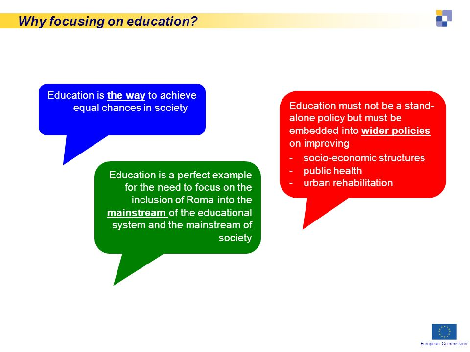 European Commission Why focusing on education.