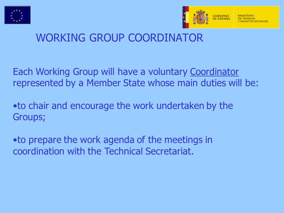WORKING GROUP COORDINATOR Each Working Group will have a voluntary Coordinator represented by a Member State whose main duties will be: to chair and encourage the work undertaken by the Groups; to prepare the work agenda of the meetings in coordination with the Technical Secretariat.