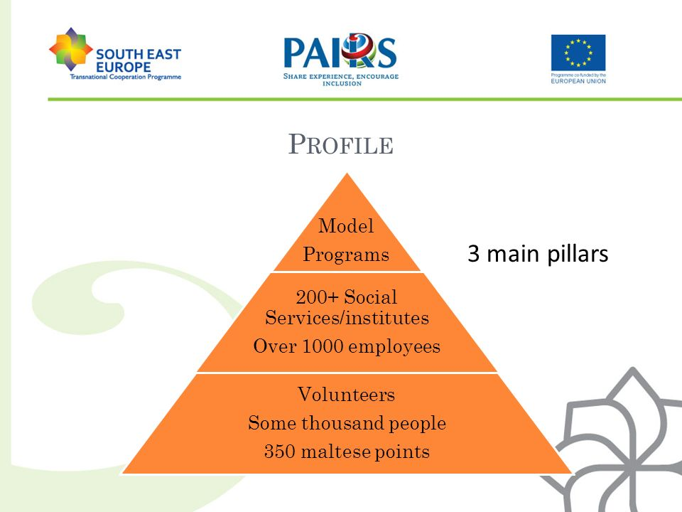 P ROFILE 3 main pillars Model Programs 200+ Social Services/institutes Over 1000 employees Volunteers Some thousand people 350 maltese points