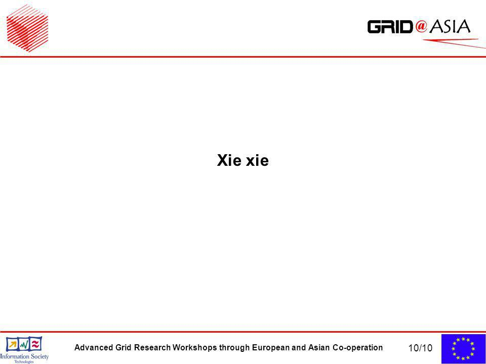 Advanced Grid Research Workshops through European and Asian Co-operation 10/10 Xie xie
