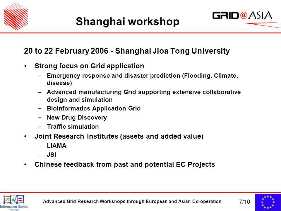 Advanced Grid Research Workshops through European and Asian Co-operation 7/10 Shanghai workshop 20 to 22 February Shanghai Jioa Tong University Strong focus on Grid application –Emergency response and disaster prediction (Flooding, Climate, disease) –Advanced manufacturing Grid supporting extensive collaborative design and simulation –Bioinformatics Application Grid –New Drug Discovery –Traffic simulation Joint Research Institutes (assets and added value) –LIAMA –JSI Chinese feedback from past and potential EC Projects
