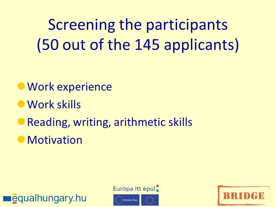Screening the participants (50 out of the 145 applicants) Work experience Work skills Reading, writing, arithmetic skills Motivation