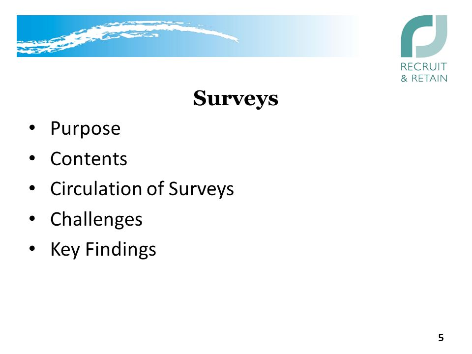 Surveys Purpose Contents Circulation of Surveys Challenges Key Findings 5