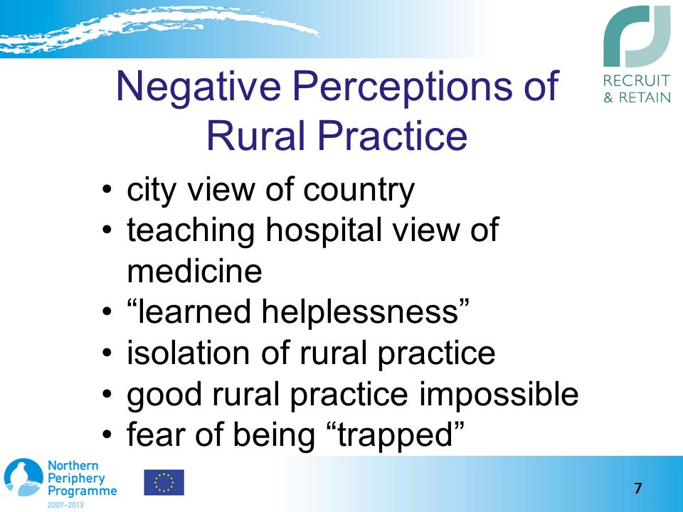 Negative Perceptions of Rural Practice city view of country teaching hospital view of medicine learned helplessness isolation of rural practice good rural practice impossible fear of being trapped 7