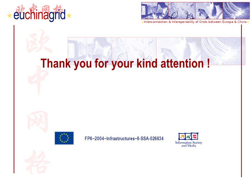 FP62004Infrastructures6-SSA-026634 Thank you for your kind attention !