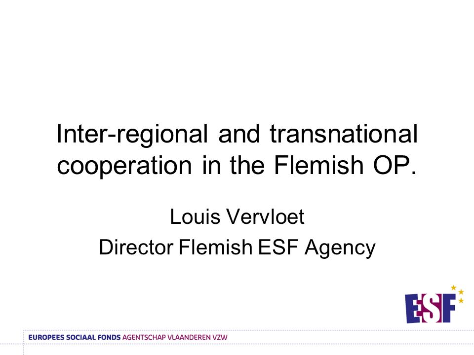 Inter-regional and transnational cooperation in the Flemish OP.