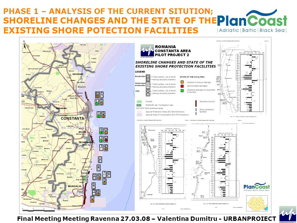PHASE 1 – ANALYSIS OF THE CURRENT SITUTION; SHORELINE CHANGES AND THE STATE OF THE EXISTING SHORE POTECTION FACILITIES Final Meeting Meeting Ravenna – Valentina Dumitru - URBANPROIECT