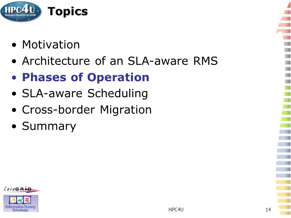 HPC4U14 Topics Motivation Architecture of an SLA-aware RMS Phases of Operation SLA-aware Scheduling Cross-border Migration Summary