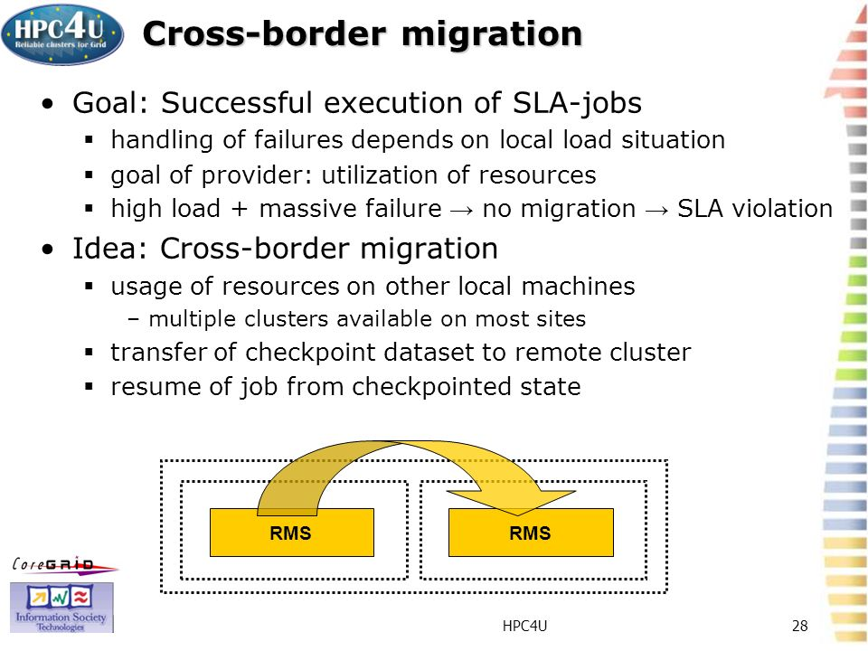 HPC4U28 Cross-border migration Goal: Successful execution of SLA-jobs handling of failures depends on local load situation goal of provider: utilization of resources high load + massive failure no migration SLA violation Idea: Cross-border migration usage of resources on other local machines –multiple clusters available on most sites transfer of checkpoint dataset to remote cluster resume of job from checkpointed state RMS
