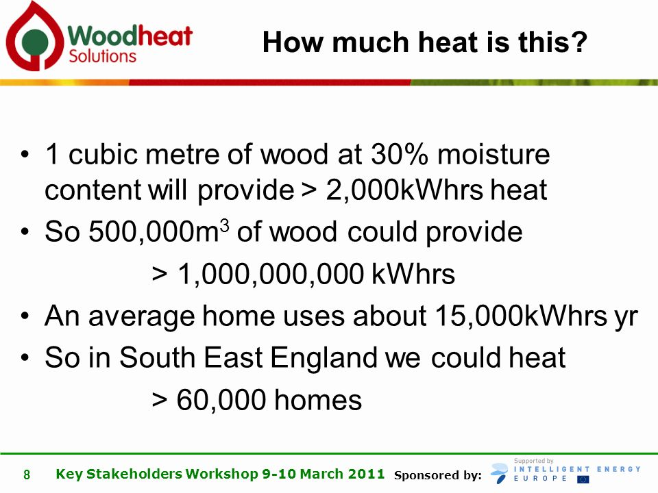 Sponsored by: Key Stakeholders Workshop 9-10 March 2011 8 How much heat is this.