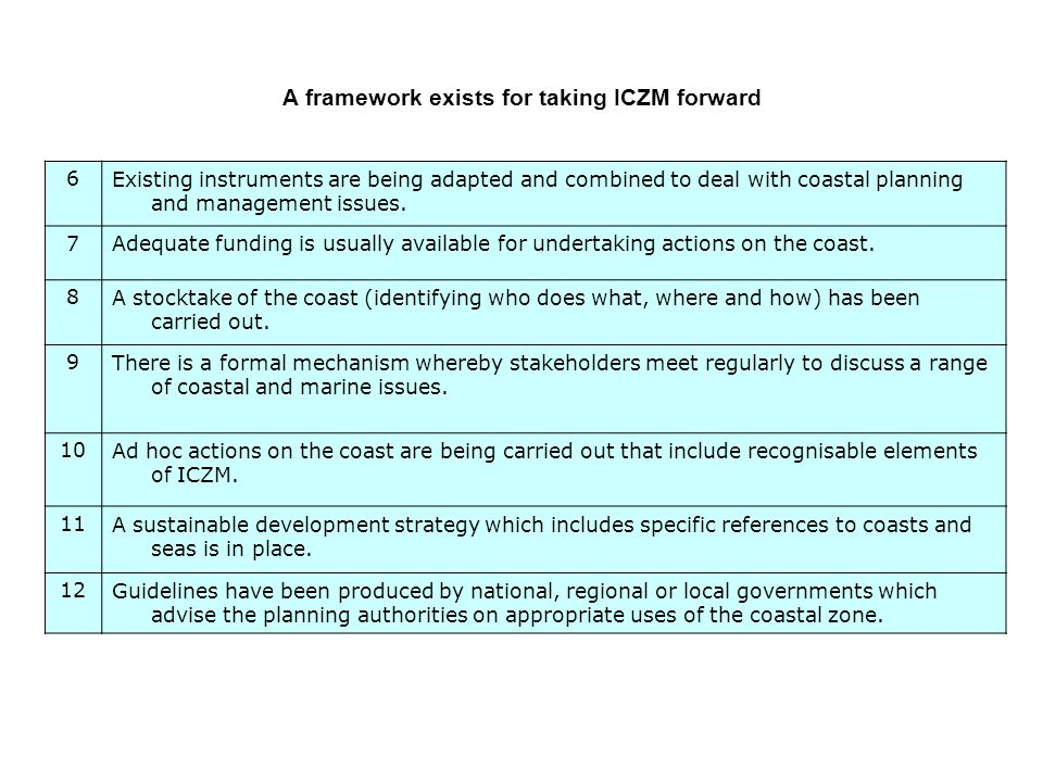 6Existing instruments are being adapted and combined to deal with coastal planning and management issues.