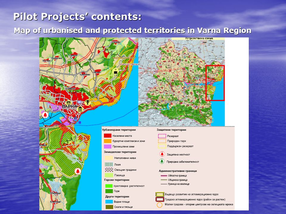Pilot Projects contents: Map of urbanised and protected territories in Varna Region