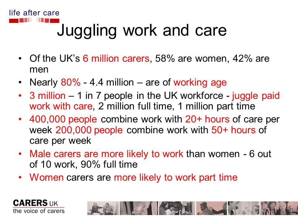 Juggling work and care Of the UKs 6 million carers, 58% are women, 42% are men Nearly 80% million – are of working age 3 million – 1 in 7 people in the UK workforce - juggle paid work with care, 2 million full time, 1 million part time 400,000 people combine work with 20+ hours of care per week 200,000 people combine work with 50+ hours of care per week Male carers are more likely to work than women - 6 out of 10 work, 90% full time Women carers are more likely to work part time