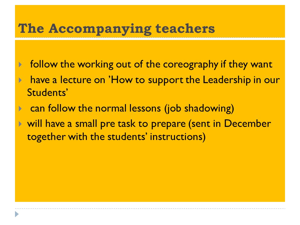 The Accompanying teachers follow the working out of the coreography if they want have a lecture on How to support the Leadership in our Students can follow the normal lessons (job shadowing) will have a small pre task to prepare (sent in December together with the students instructions)