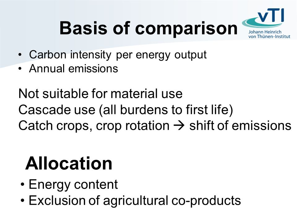 Basis of comparison Carbon intensity per energy output Annual emissions Not suitable for material use Cascade use (all burdens to first life) Catch crops, crop rotation shift of emissions Energy content Exclusion of agricultural co-products Allocation
