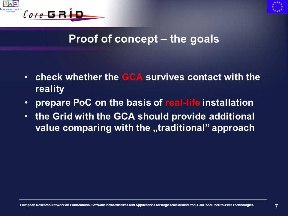 European Research Network on Foundations, Software Infrastructures and Applications for large scale distributed, GRID and Peer-to-Peer Technologies 7 Proof of concept – the goals check whether the GCA survives contact with the reality prepare PoC on the basis of real-life installation the Grid with the GCA should provide additional value comparing with the traditional approach