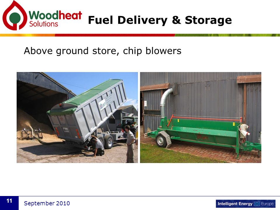 September 2010 11 Fuel Delivery & Storage Above ground store, chip blowers
