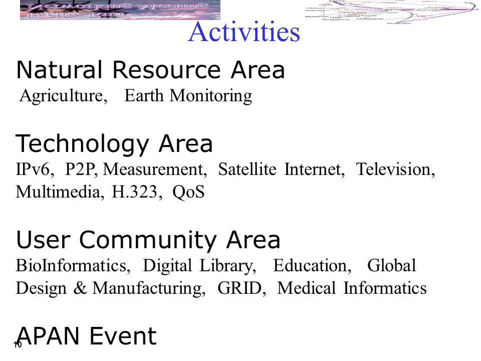 10 Natural Resource Area Agriculture, Earth Monitoring Technology Area IPv6, P2P, Measurement, Satellite Internet, Television, Multimedia, H.323, QoS User Community Area BioInformatics, Digital Library, Education, Global Design & Manufacturing, GRID, Medical Informatics APAN Event Activities