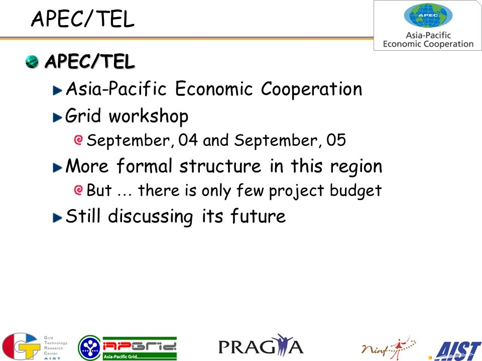 APEC/TEL APEC/TEL Asia-Pacific Economic Cooperation Grid workshop September, 04 and September, 05 More formal structure in this region But … there is only few project budget Still discussing its future
