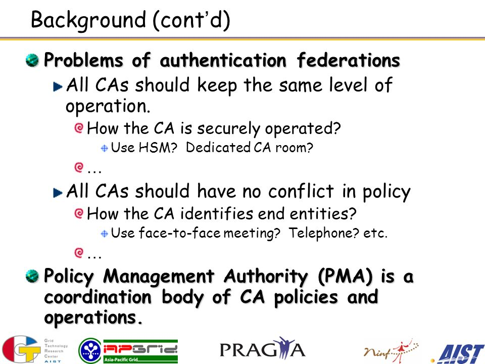 Background (cont d) Problems of authentication federations All CAs should keep the same level of operation.