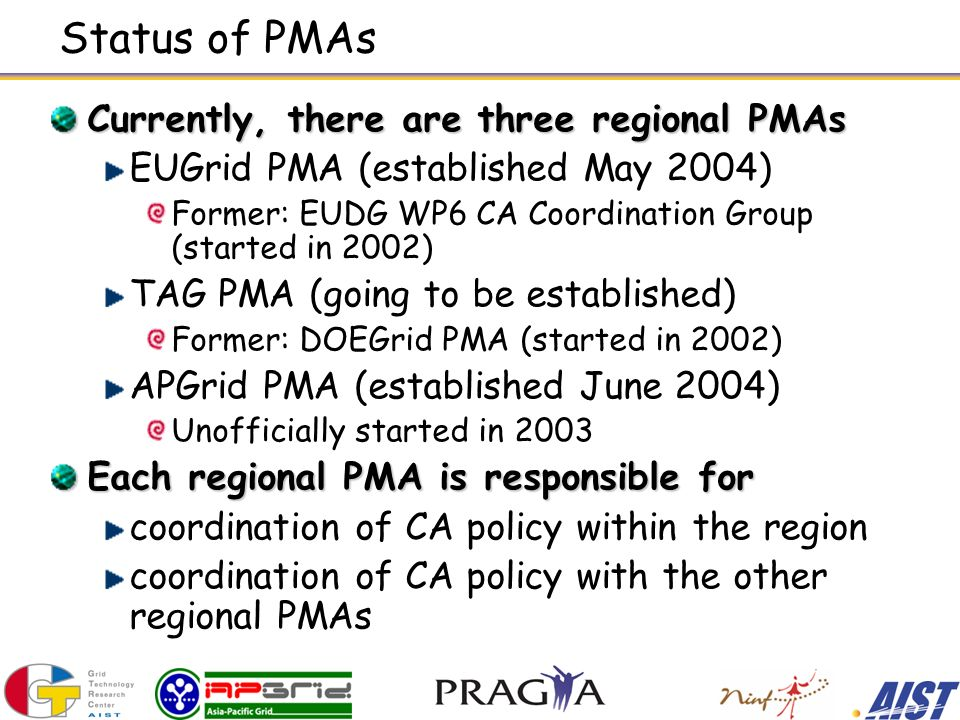 Status of PMAs Currently, there are three regional PMAs EUGrid PMA (established May 2004) Former: EUDG WP6 CA Coordination Group (started in 2002) TAG PMA (going to be established) Former: DOEGrid PMA (started in 2002) APGrid PMA (established June 2004) Unofficially started in 2003 Each regional PMA is responsible for coordination of CA policy within the region coordination of CA policy with the other regional PMAs