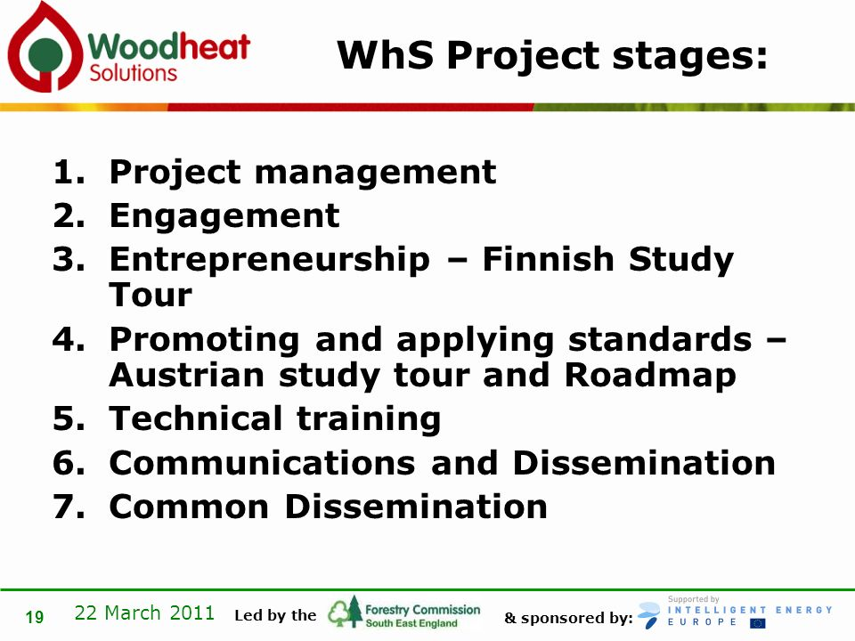 & sponsored by: Led by the 22 March 2011 19 WhS Project stages: 1.Project management 2.Engagement 3.Entrepreneurship – Finnish Study Tour 4.Promoting and applying standards – Austrian study tour and Roadmap 5.Technical training 6.Communications and Dissemination 7.Common Dissemination