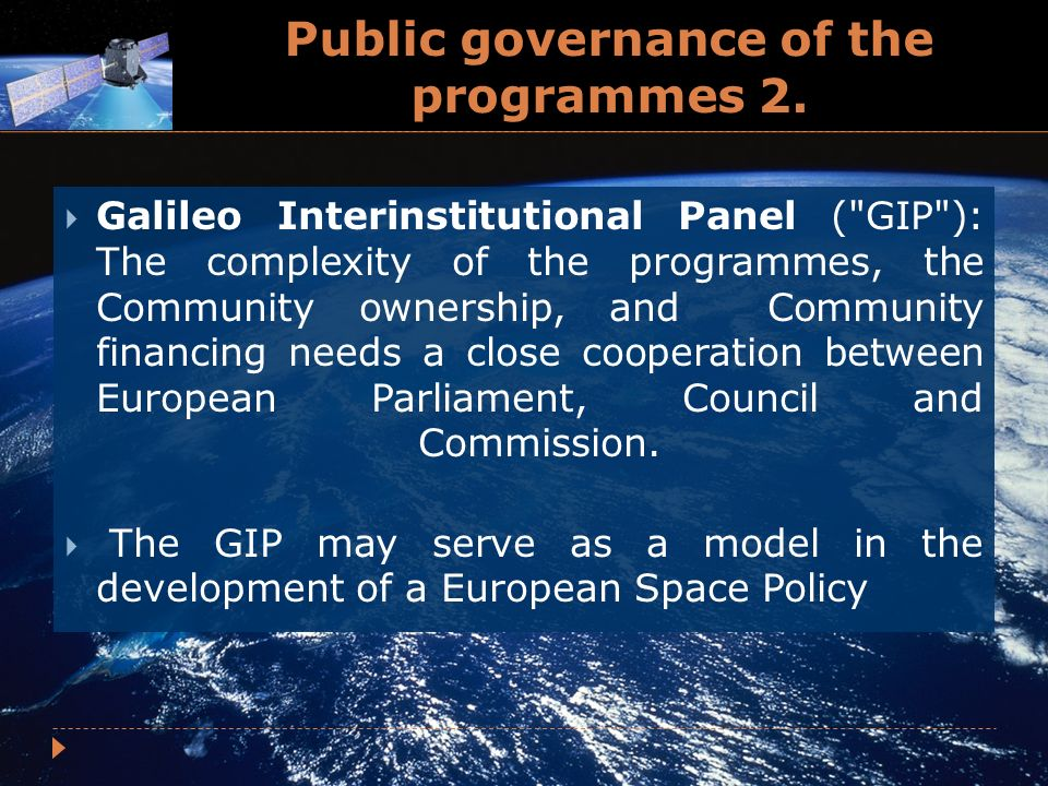 Public governance of the programmes 2.