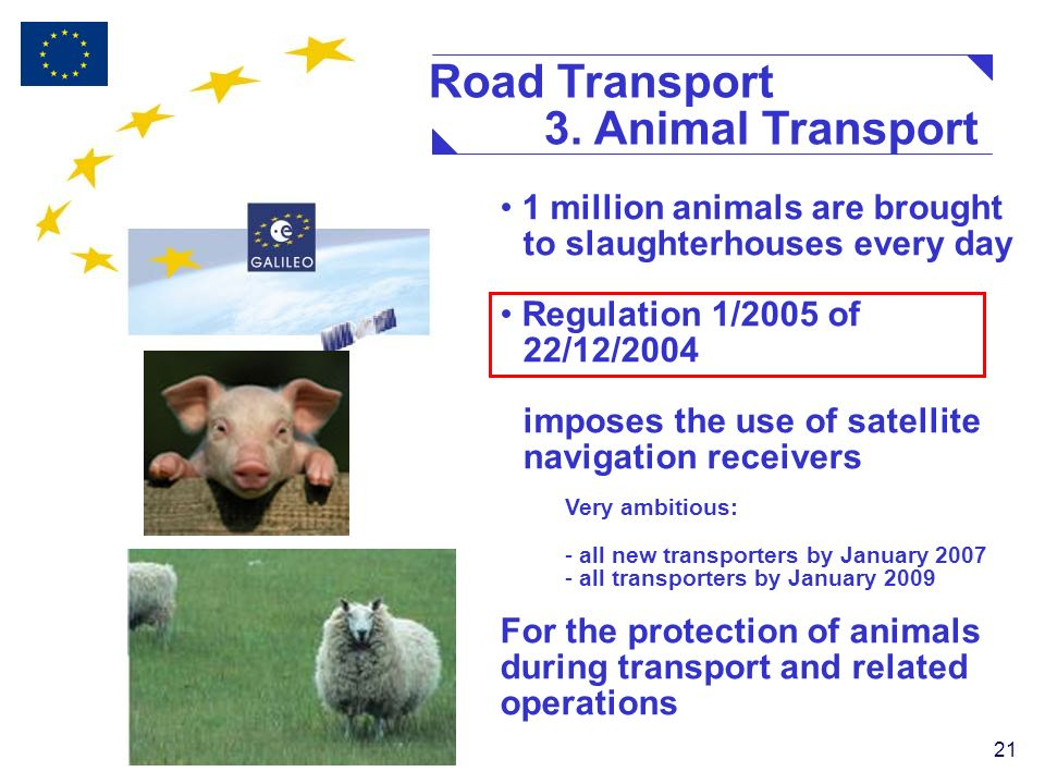 21 1 million animals are brought to slaughterhouses every day Regulation 1/2005 of 22/12/2004 imposes the use of satellite navigation receivers Very ambitious: - all new transporters by January 2007 - all transporters by January 2009 For the protection of animals during transport and related operations Road Transport 3.