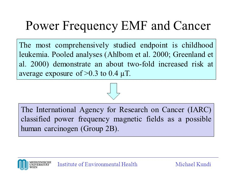 Institute of Environmental HealthMichael Kundi Power Frequency EMF and Cancer The most comprehensively studied endpoint is childhood leukemia.