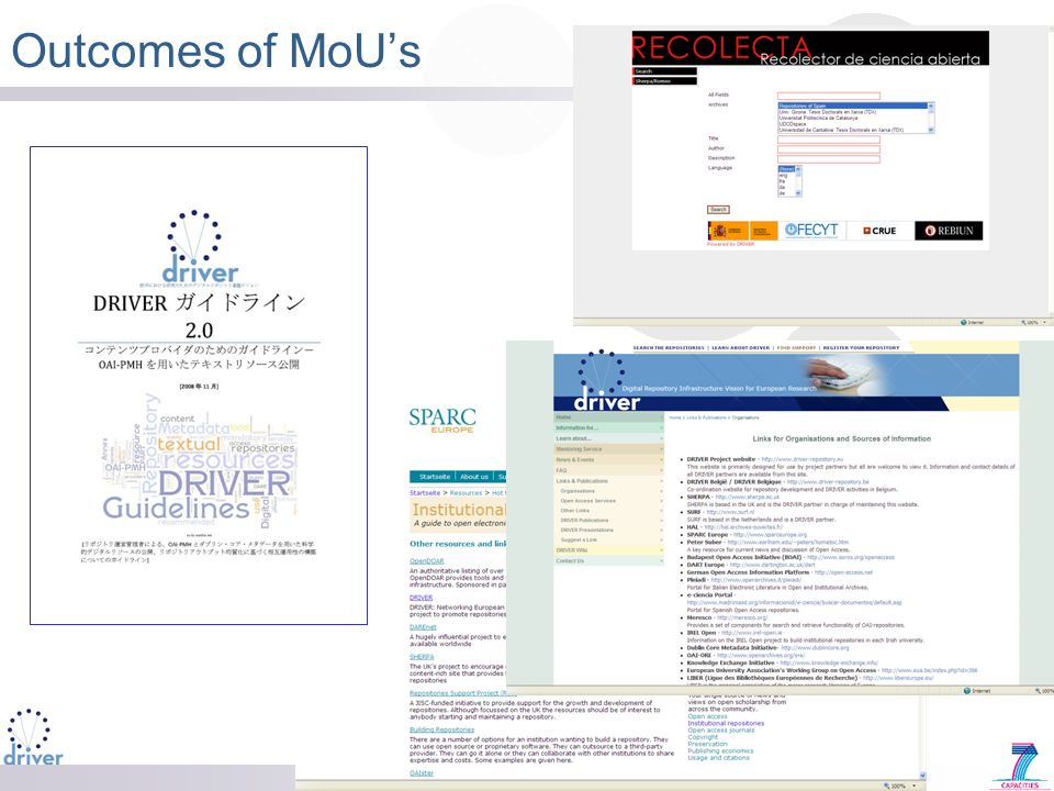 Outcomes of MoUs
