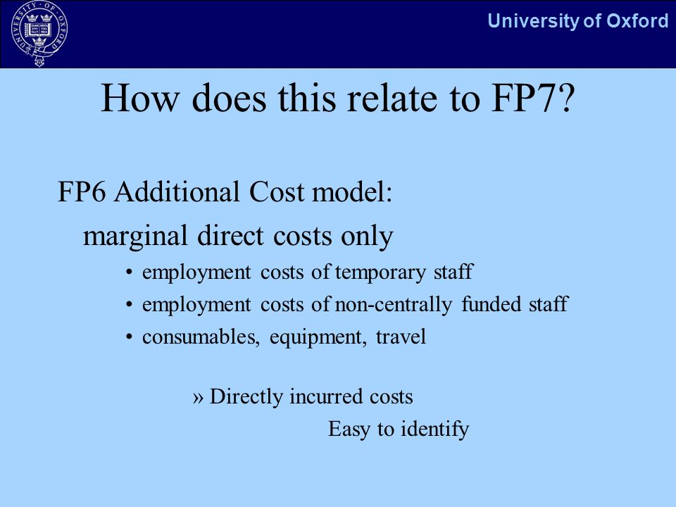 University of Oxford How does this relate to FP7.