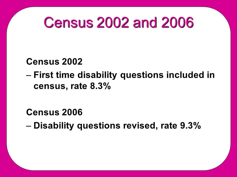 Census 2002 and 2006 Census 2002 –First time disability questions included in census, rate 8.3% Census 2006 –Disability questions revised, rate 9.3%