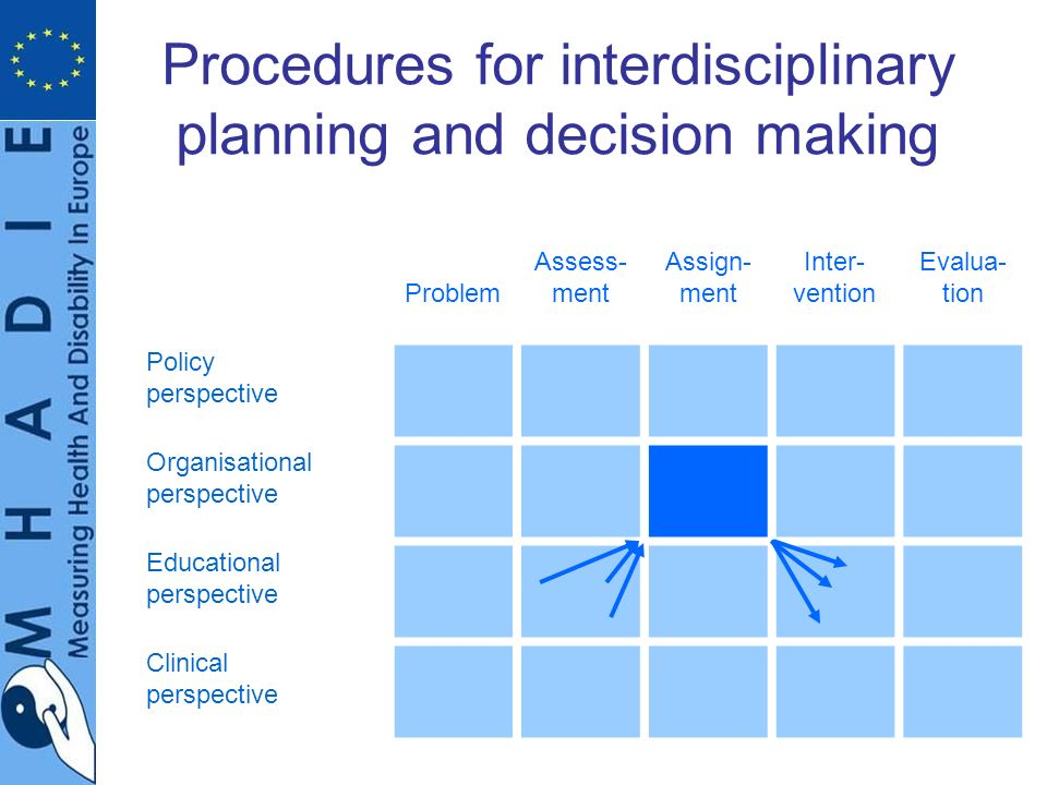 Procedures for interdisciplinary planning and decision making Problem Assess- ment Assign- ment Inter- vention Evalua- tion Policy perspective Organisational perspective Educational perspective Clinical perspective
