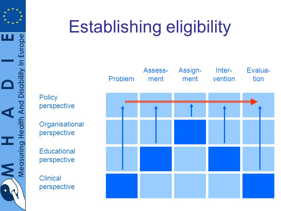 Establishing eligibility Problem Assess- ment Assign- ment Inter- vention Evalua- tion Policy perspective Organisational perspective Educational perspective Clinical perspective